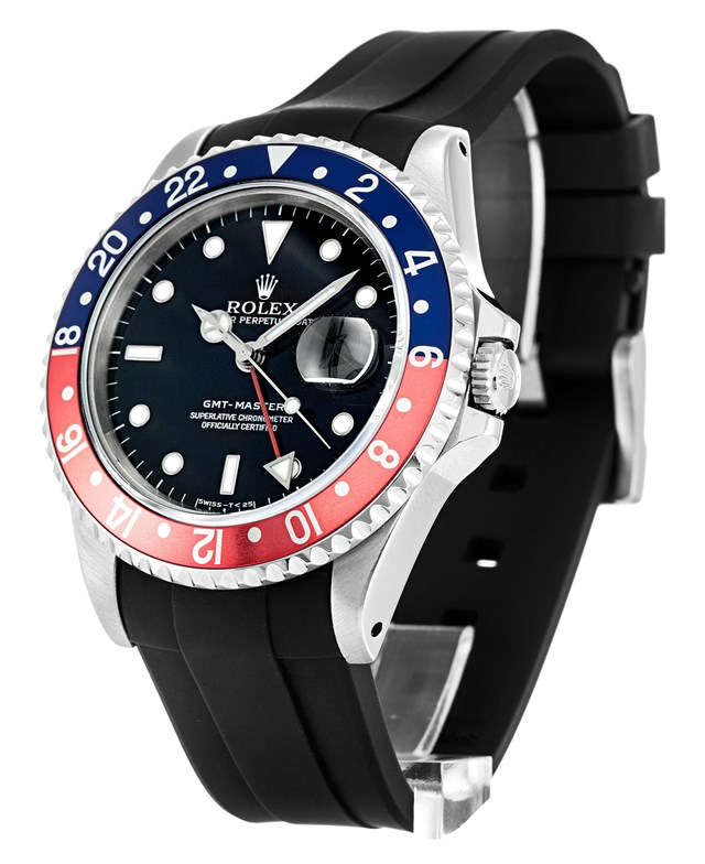 Fake Rolex GMT-Master Black Rubber Strap Watches UK--