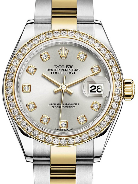 New Swiss Rolex Lady-Datejust 28 Copy Watches UK With Yellow Gold Bezels