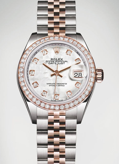 Cool White Dials Rolex Lady-Datejust 28 Fake Watches UK Sale For Rosie Huntington-Whiteley