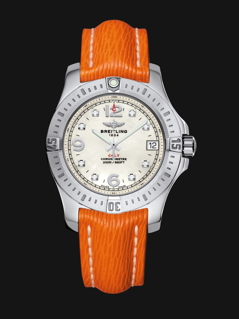 The dynamic orange leather straps add dynamic feelings to the whole image.