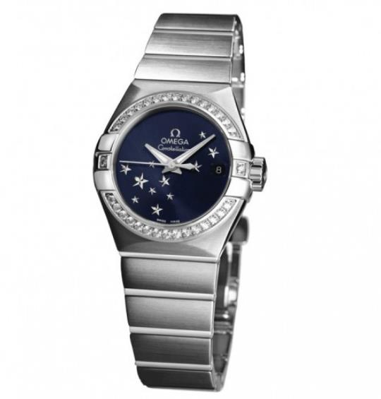 The stainless steel fake watches have blue dials,