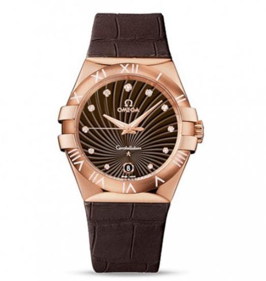 The 18k rose gold fake watches have brown dials.