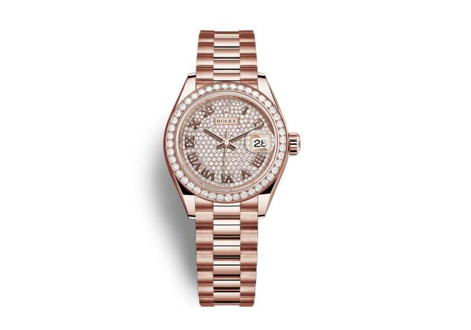 The 18ct everose gold fake watches have diamond-paved dials.