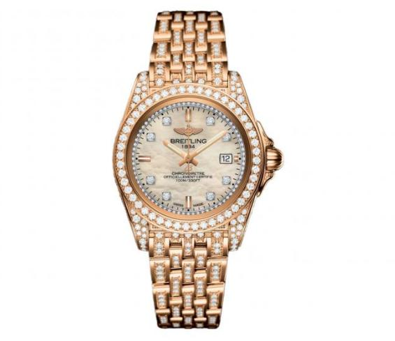 The 18k rose gold copy watches have white mother-of-pearl dials.