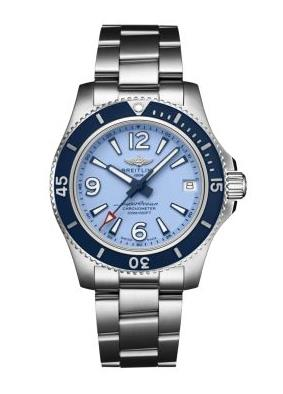 The stainless steel copy watches have blue dials.