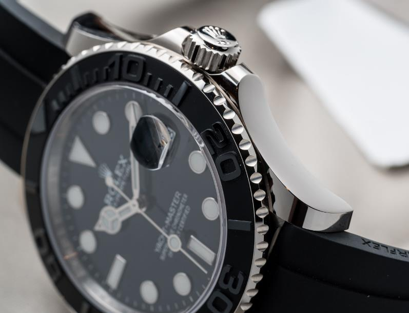 The 42 mm fake watches are made from 18ct white gold.