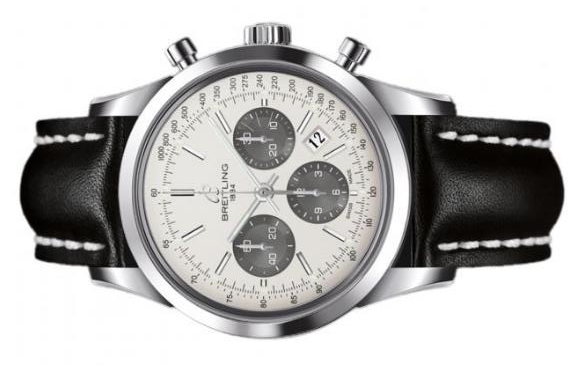 The silvery dials copy watches have black alligator leather straps.