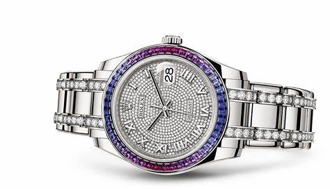 The 18ct white gold copy watches are decorated with diamonds.