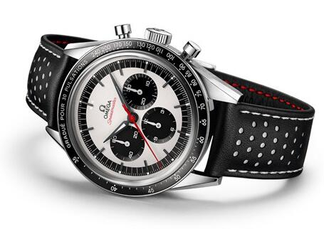The red second hand is striking on the white dial.