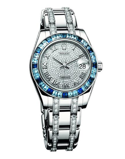 The female fake watches are made from 18ct white gold.