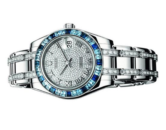 The 34 mm copy watches have diamond-paved dials.